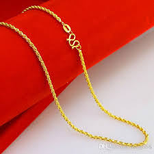 necklace for 2018 2mm yellow twist chain necklace for women wedding jewelry
