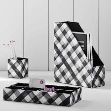 Black And White Desk Accessories Fabric Desk Accessories Set Of 3 Black Watercolor Plaid Pbteen