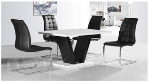 White  Black High Gloss Dining Table   Chairs Set Homegenies - White and black dining table