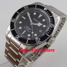 black bracelet mens watches images 41mm corgeut black dial white marks black bezel sapphire glass jpg