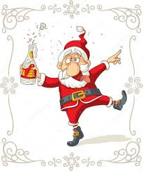 champagne celebration cartoon drunk santa dancing vector cartoon u2014 stock vector