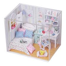 new kits diy wood dollhouse miniature with led furniture cover