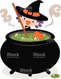 halloween witch pot cute witch stirring her cauldron stock vector art 165741360 istock