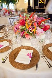 bold tropical floral reception table centerpiece elizabeth anne