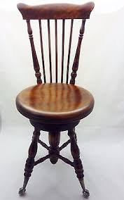 antique mahogany high back swivel piano chair glass ball claw feet