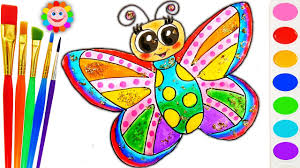 how to draw rainbow butterfly drawing coloring page for children