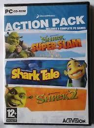dreamworks pc cd rom 3 game action pack shrek superslam shrek 2