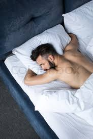 Man Sleeping In Bed Top View Of Handsome Shirtless Bearded Man Sleeping In Bed Under