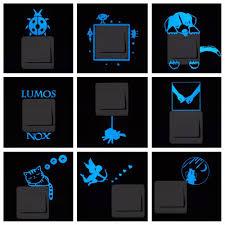 Glow In The Dark Home Decor Blue Light Luminous Switch Sticker Home Decor Cartoon Glowing Wall