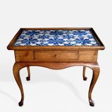 Pine Side Table A Rococo Style Stripped Pine Side Table With Delft Tile Top