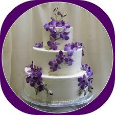 ivory wedding cake with purple orchids cakecentral com