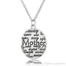 Engraved Necklaces Wholesale 2017 Fashion Mother Circle Gift Vintage Silver Engraved