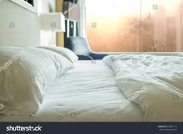 bed sheets pillows bedroom morning concept stock photo 453887113