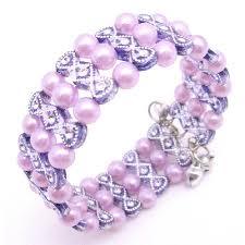 pink pearls bracelet images Pink lavender cuff braclet stretchable lavender pink pearls bracelet jpg