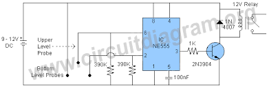 automatic water pump controller circuit diagram using 555 ic