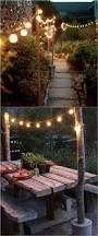 Patio Cafe Lights by Support Poles For Patio Lights Made From Rebar And Electrical