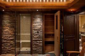 natural stone bathroom tile big mirror mix glass shower room black