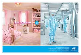 amusing cleanroom ad from intel from a few years back the text at
