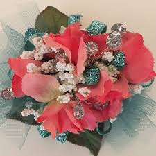 cheap corsages for prom coral and teal corsage prom corsage homecoming silk wrist ideas