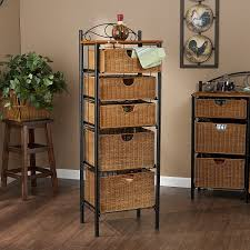 Rattan Kitchen Furniture by Amazon Com Southern Enterprises 5 Drawer Storage Unit With Wicker