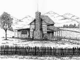 log cabin drawings log cabin print country cabin landscape cabins pen and