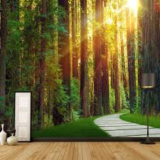online get cheap nature wall murals aliexpress com alibaba group sunshine origin green forest nature tree photo wall mural custom size wallpaper for living room bedroom