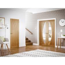 Interior Glazed Doors White by Internal Oak Veneer Salerno Clear Glazed Door Pair