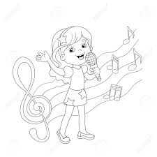 coloring page outline of cartoon singing a song with melody