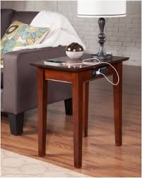 end table with outlet huge deal on atlantic furniture shaker usb power outlets walnut