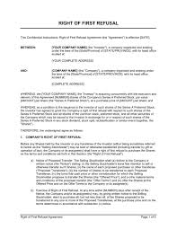 right of first refusal agreement template u0026 sample form