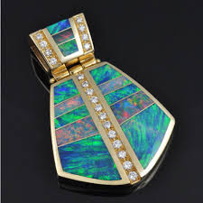 opal australia necklace images Australian opal inlay pendant with diamonds set in 14k gold the jpg