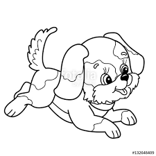 coloring outline cute puppy cartoon joyful dog jumping