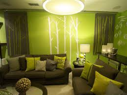 marvellous minimalist green living room with white trees decal and