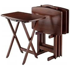 Folding Table With Chair Storage Amazon Com Winsome Oversize Snack Table Set Walnut Kitchen U0026 Dining