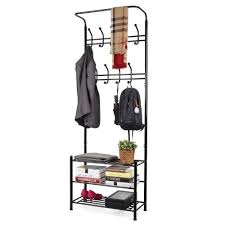 entryway bench and coat rack set with storage compartment