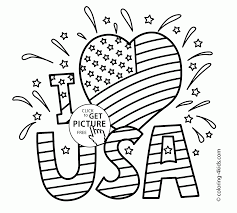 usa i love independence day coloring page for kids coloring