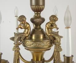 Brass Chandelier Vintage Romantic French Style Brass Musical Cherub Putti