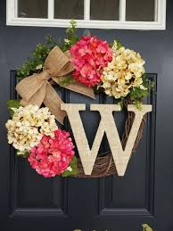 summer wreath summer wreath monogram wreath hydrangea wreath front door