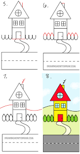 drawing houses how to draw a cartoon house from the word house an easy word