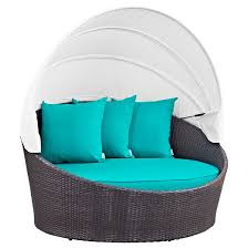 convene canopy outdoor patio daybed espresso turquoise modway