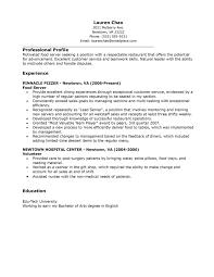 resume objective for restaurant server server resume sample
