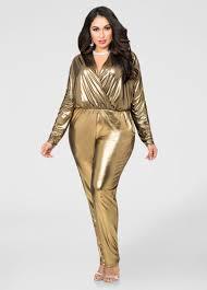 gold jumpsuit metallic lamé surplice jumpsuit plus size jumpsuits stewart