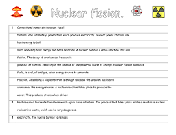 nuclear fission and fusion by missnpye teaching resources tes