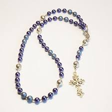 catholic rosary necklace handcrafted catholic saints rosary necklace beaded chain blue
