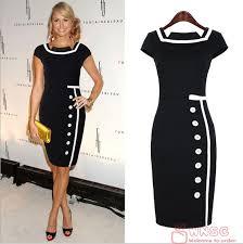 black dress uk 2014 new women business work sheath bodycon vintage pencil dress