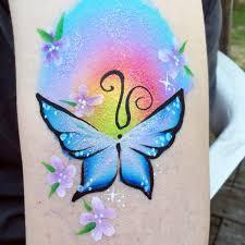 rainbow and butterfly arm design facepaint com