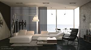 minimalist black white interior with white l shaped sofa in