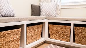 Bench With Baskets Breakfast Nook Storage Bench