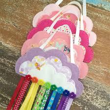 hair clip holder strawberry clouds rainbow hair holder felt soft pink
