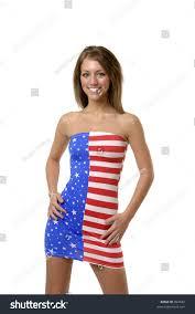 King Kamehameha Flag American Woman Wearing American Flag Stock Photo 894832
